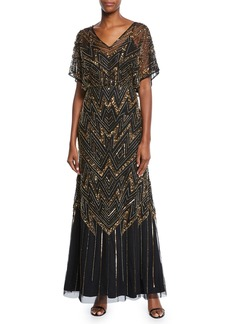 Aidan Mattox Sequin Lace Burnout Flutter Sleeve High Low