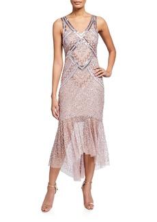 Aidan Mattox V-Neck Sleeveless Beaded Lace Dress
