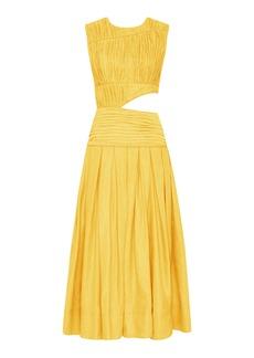Aje - Women's Cascade Cutout Pleated Linen-Blend Midi Dress - Yellow - Moda Operandi