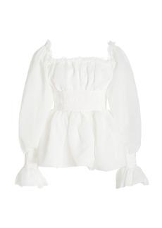 Aje - Women's Divine Poet-Sleeve Shirred Crepe Top - White - Moda Operandi