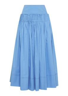 Aje - Women's Savoy Pleated Cotton Midi Skirt - Blue - Moda Operandi