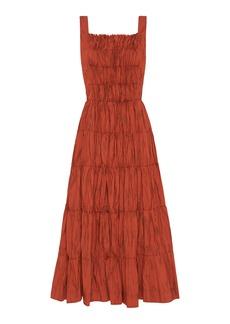 Aje - Women's Unfold Pleated Printed Poplin Midi Bib Dress - Red - Moda Operandi