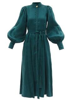 Aje Gentle lantern-sleeve linen-blend fil-a-fil dress