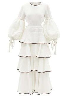 Aje Gracious cutout tiered linen-blend dress