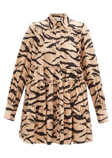 Aje Nouveau tiered zebra-print cotton mini dress