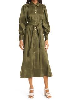 Aje Oxidised Long Sleeve Linen & Silk Midi Shirtdress
