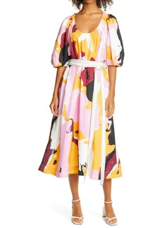 Aje Psychedelia Puff Sleeve Linen & Cupro Dress