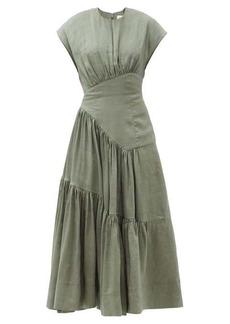 Aje Reflection tiered linen-blend maxi dress