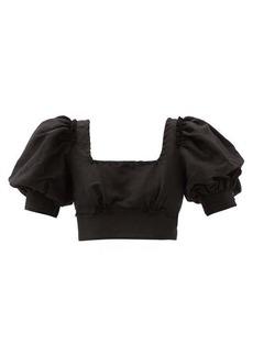 Aje Unlace cropped linen-blend top