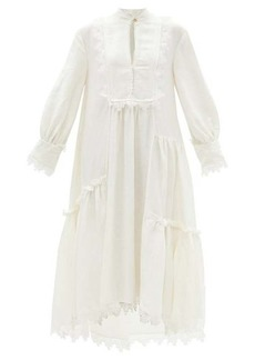 Aje Veil tiered lace-trimmed linen-blend dress