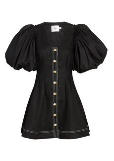 Aje Quietude Puff Sleeve Linen Dress