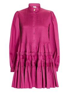 Aje Run Free Smocked Cotton Mini Dress
