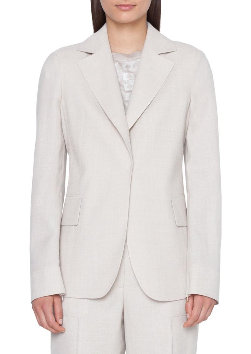Akris Aileen Zip-Sleeve Cool Wool Crepe Blazer