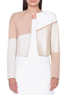 Akris Air Leather Patchwork Bolero Jacket
