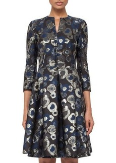 Akris 3/4-Sleeve Split-Neck Metallic Coat Dress