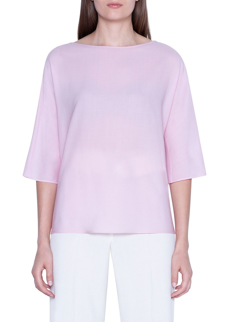 Akris 3/4-Sleeve Wool-Silk Crewneck Top