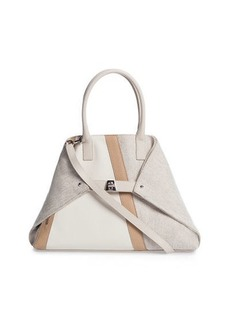 Akris Ai Medium Bratescu Line Canvas & Leather Top-Handle Tote Bag