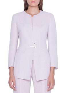 Akris Ana Linen-Wool Long Magnet-Front Blazer