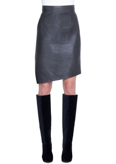 Akris Asymmetric Napa Leather Pencil Skirt