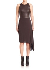Akris Asymmetrical Leather Combo Dress