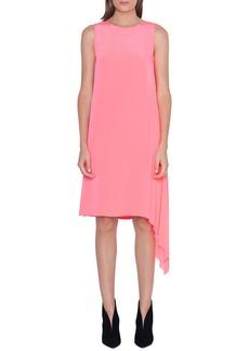 Akris Asymmetrical Plissé Silk Crêpe Dress