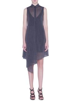 Akris Asymmetrical Two-Tone Wool Crepe Shirtdress