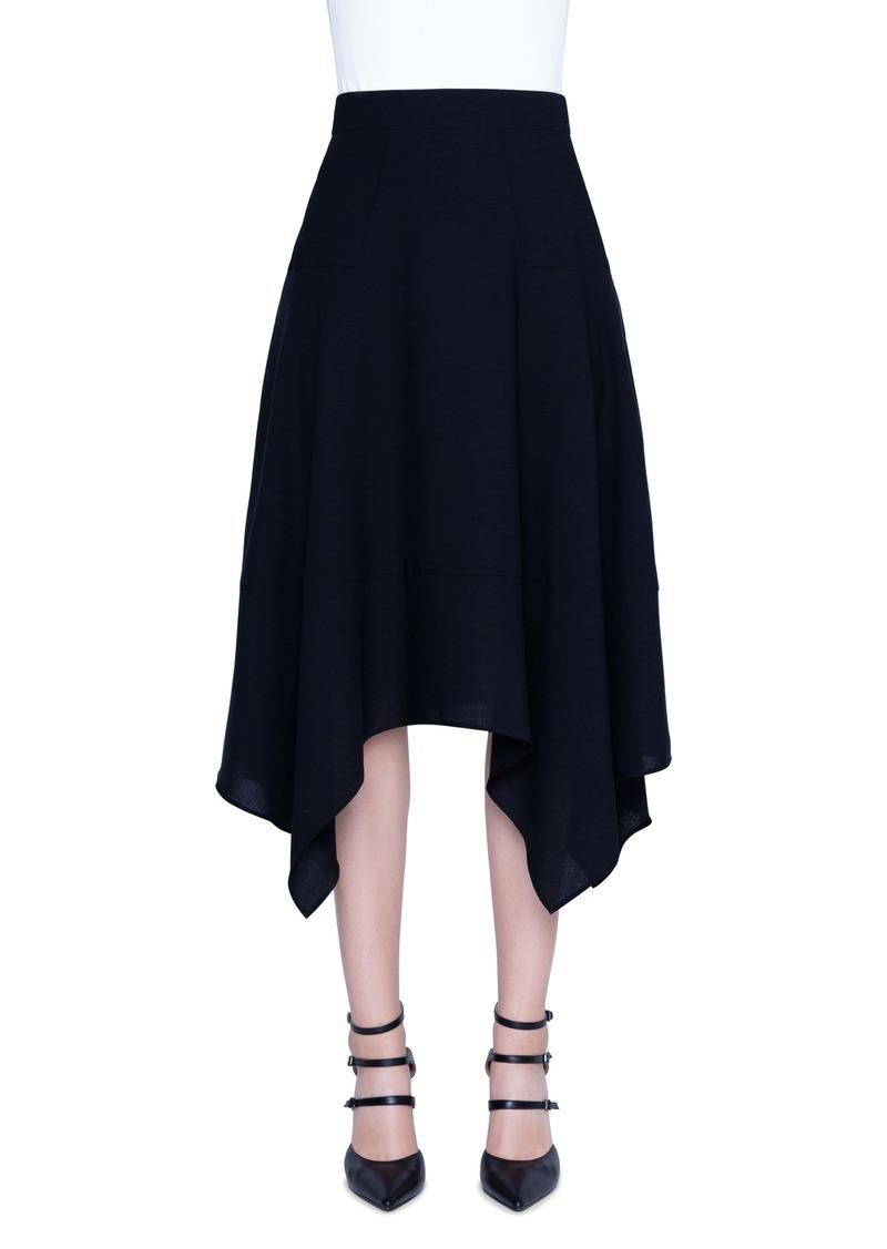 Akris Asymmetrical Wool Blend Skirt