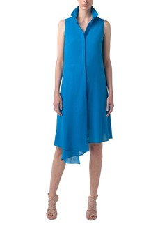 Akris Asymmetrical Georgette Shirtdress