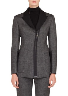 Akris Asymmetrical Zip Double Face Tweed Jacket