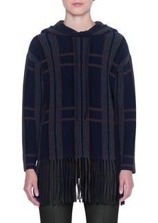 Akris Baja Cashmere-Silk Checked Fringe Sweater