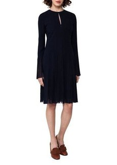 Akris Bell-Sleeve Silk Georgette Plissé Dress