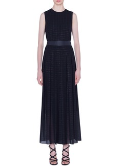 Akris Belted Metallic Plaid Wool Blend Maxi Dress