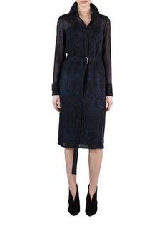 Akris Belted Shearling-Print Wool Shirtdress