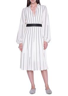 Akris Belted Stripe Long Sleeve Silk Crepe Dress