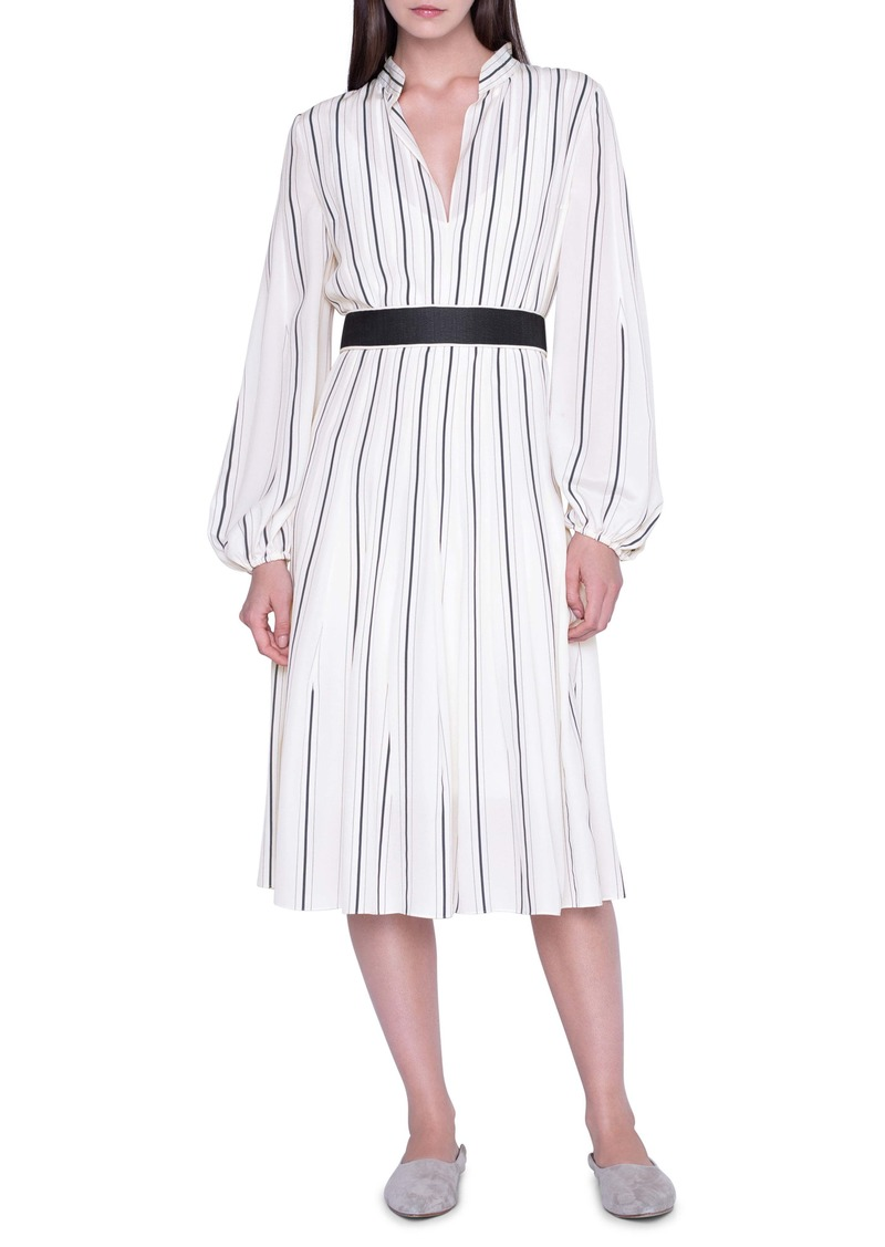 Akris Belted Stripe Long Sleeve Silk Crepe Dress