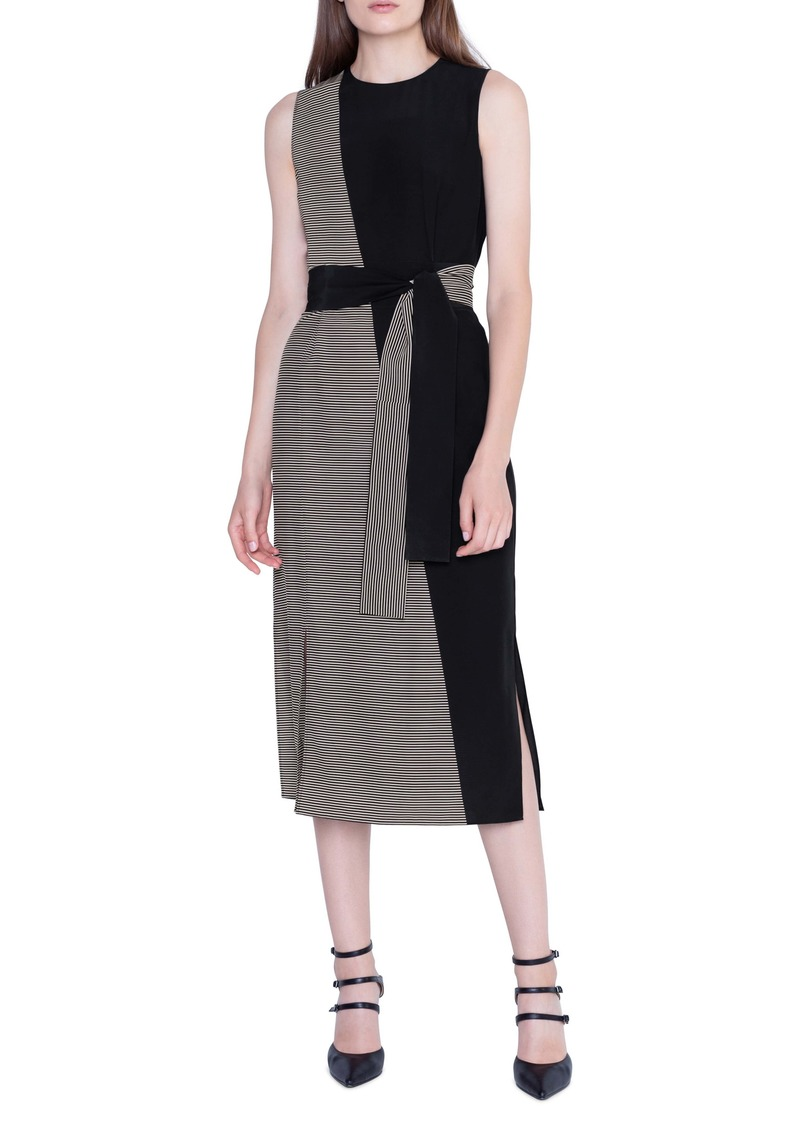 Akris Bias Cut Contrast Belted Silk Midi Dress