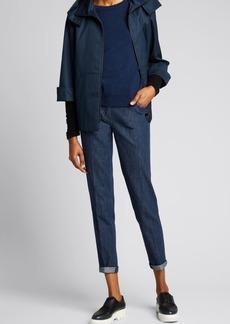 Akris Bicolor Cashmere Sweater w/ Detachable Cuffs