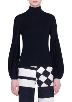 Akris Blouson Sleeve Wool & Silk Blend Sweater