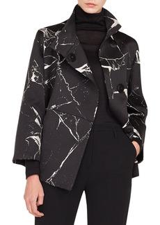 Akris Bracelet-Sleeve Marble-Tiles Jacquard Wool-Blend Jacket