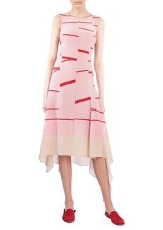 Akris Broken Stripe Silk Crepe Asymmetrical Dress
