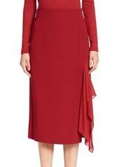 Akris Buckled Wool Wrap Skirt