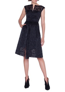 Akris Cap-Sleeve Embroidered Organza Apron Dress