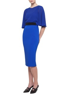 Akris Cape-Sleeve Georgette Dress