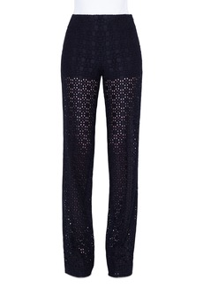 Akris Carla Plaid-Embroidered Straight Leg Pants