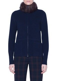Akris Cashmere Cardigan with Removable Genuine Sable Fur Collar