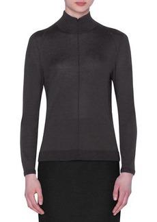 Akris Cashmere-Silk Mock-Neck Seamed-Front Sweater