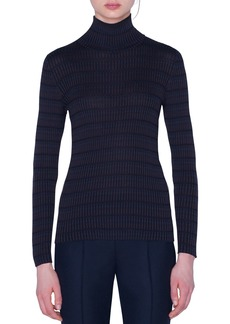 Akris Checked Silk Turtleneck Sweater