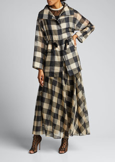 Akris Checked Silk Zip-Front Jacket