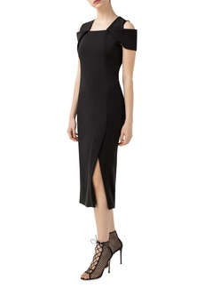 Akris Cold Shoulder Stretch Silk Crepe Sheath Dress