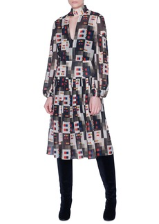 Akris Colorama Print Long Sleeve Silk Midi Dress